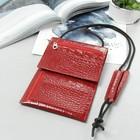 Кошелёк-турконверт на шею, 1 отдел, карманы для карт, наружный карман, цвет кайман красный