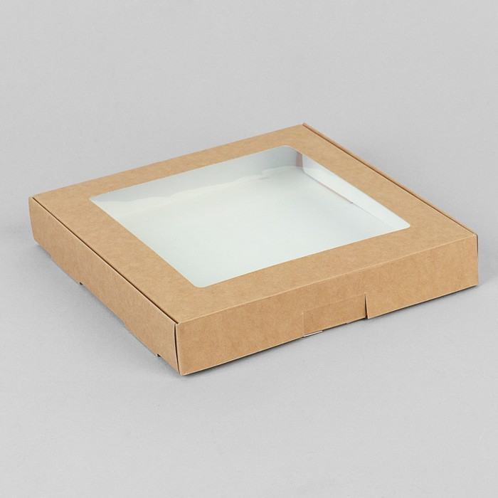 Коробка самосборная бесклеевая, крафт, 19 х 19 х 3 см