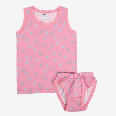 Трусы+майка для девочек, рост 128-134 (36) см, цвет розовый-зеленый 10655