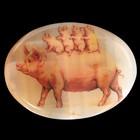 Панно «Поросята на маме свинке», 8,5х6 см, селенит