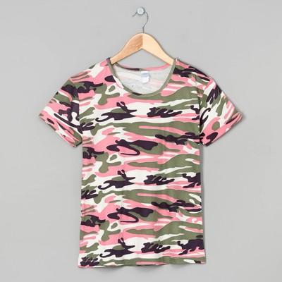 Футболка женская, цвет розовый/милитари, размер 50