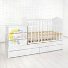 Детская кровать-трансформер «Зайка» с поперечным маятником, цвет белый