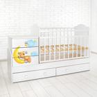 Детская кровать-трансформер «Мишка» с поперечным маятником, цвет белый