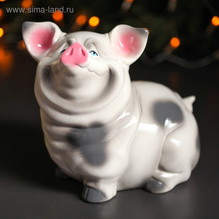 "Копилка ""Свинка Нюся"" белая, глянец"