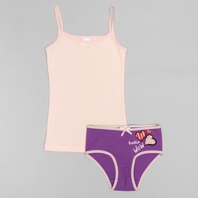 Комплект для девочки (майка, трусы), рост 146 (76) см, цвет розовый/сиреневый 3167