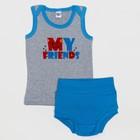 Комплект для мальчика (майка, трусы), рост 68 (44) см, цвет серый/голубой 3245_М