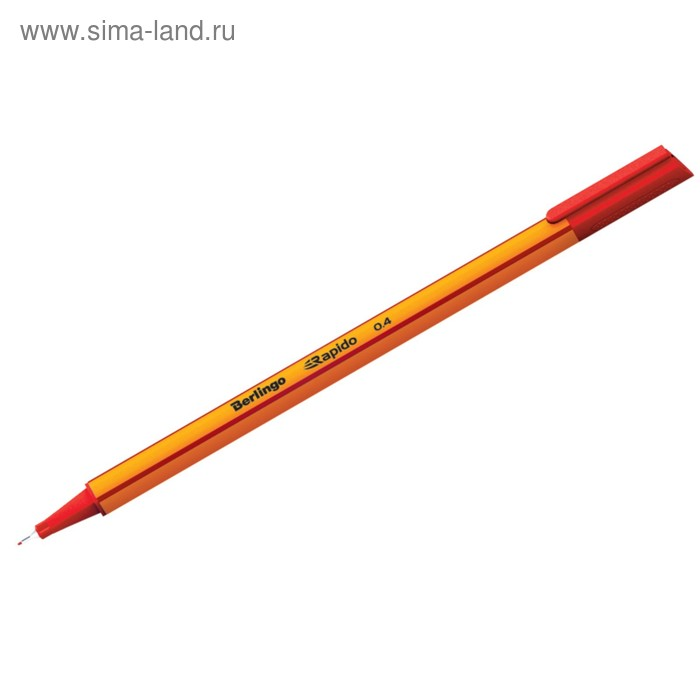 Ручка капиллярная Berlingo Rapido, 0,4 мм, трёхгранная, стержень красный