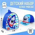 "Детский набор ""Акула"": кепка 54-60 см, рюкзак 21 х 25 см"