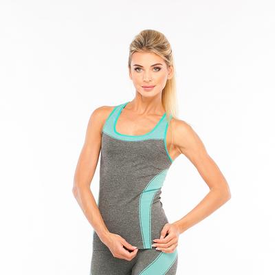 Майка женская спортивная JC002, цвет серый меланж/мятный, р-р 56-68 (XXL)