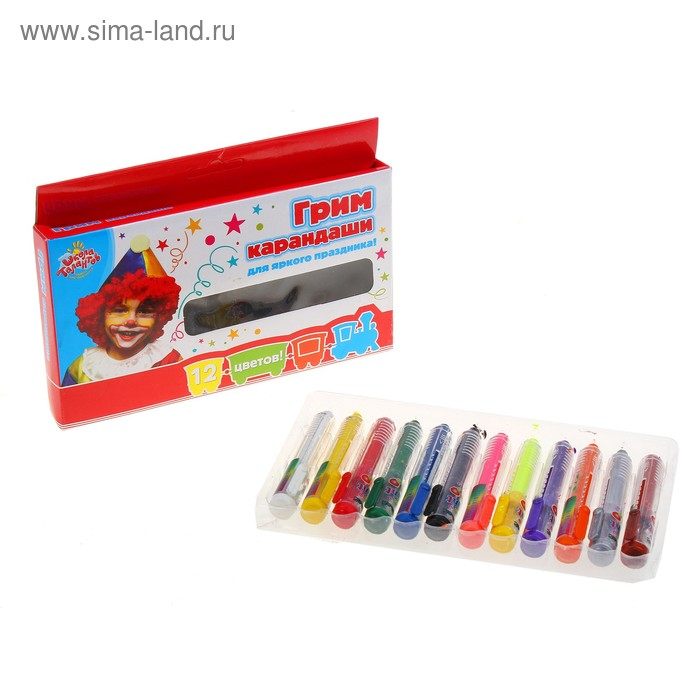 Краски-грим карандаши для лица и тела, набор 12 цветов