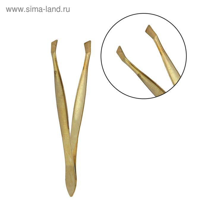 Пинцет узкий, скошенный наконечник, 8,5см, цвет золотистый