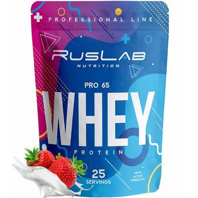 Протеин RusLabNutrition PRO 65 WHEY (950г) (Улучшенная формула) клубника