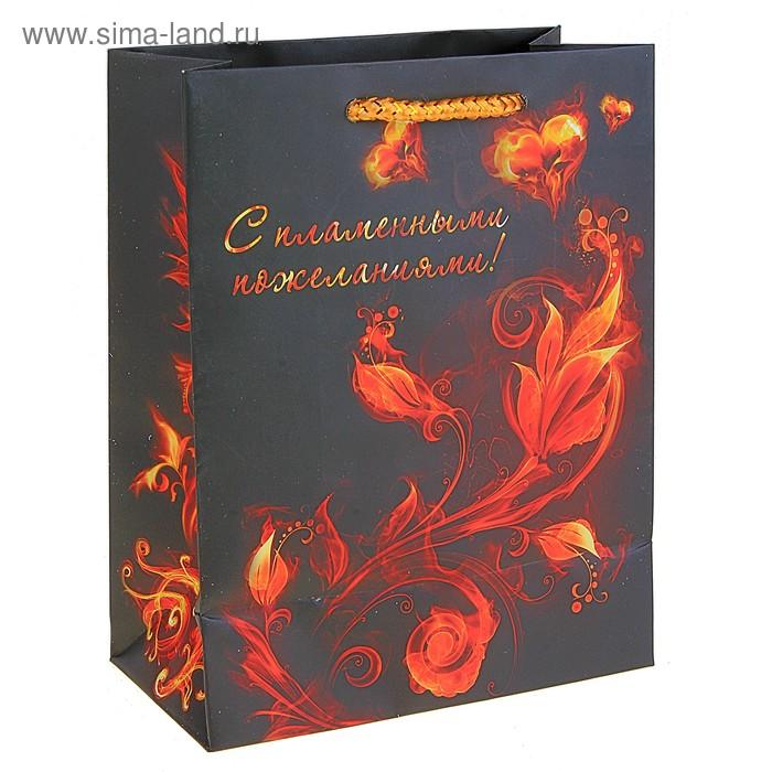 """Пакет подарочный """"С пламенными пожеланиями"""" (блестки)"""
