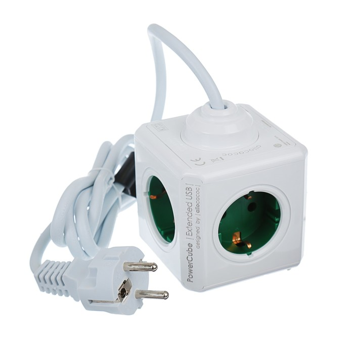 Разветвитель PowerCube кабель 1,5м + две USB розетки, зеленый