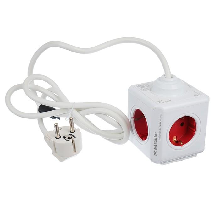 Разветвитель PowerCube Кабель 5 розеток  1,5м Красный