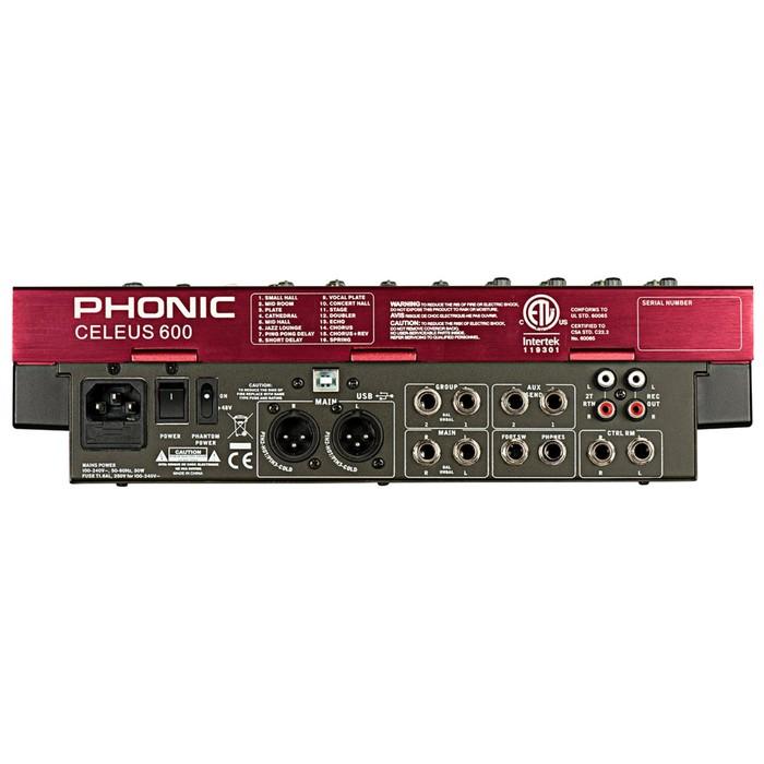 Микшер Phonic CELEUS 600 12-ти канальный, USB плеер/рекордер, USB аудиоинтерфейс