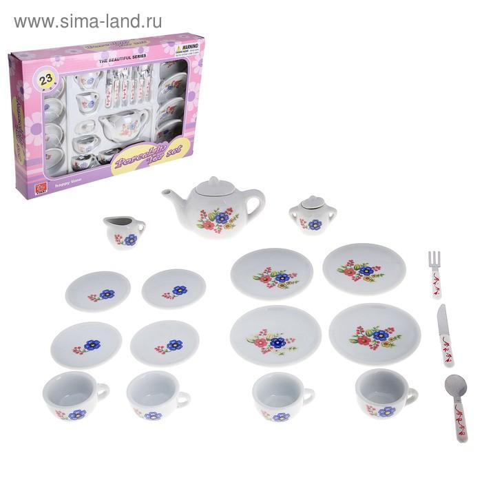 """Набор фарфоровой посуды для кукол """"Цветы"""", 21 предмет"""