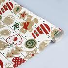 Бумага упаковочная крафт, новогодние рисунки, 0.5 х 10 м