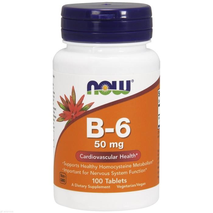 Витамин B-6 NOW 50 мг, 100 таб