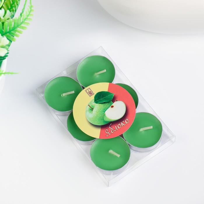 Свечи восковые в гильзе (набор 6 шт), аромат яблоко