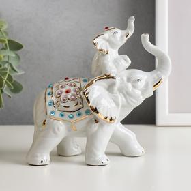 """Сувенир под фарфор """"Слон со слонёнком"""" стразы"""