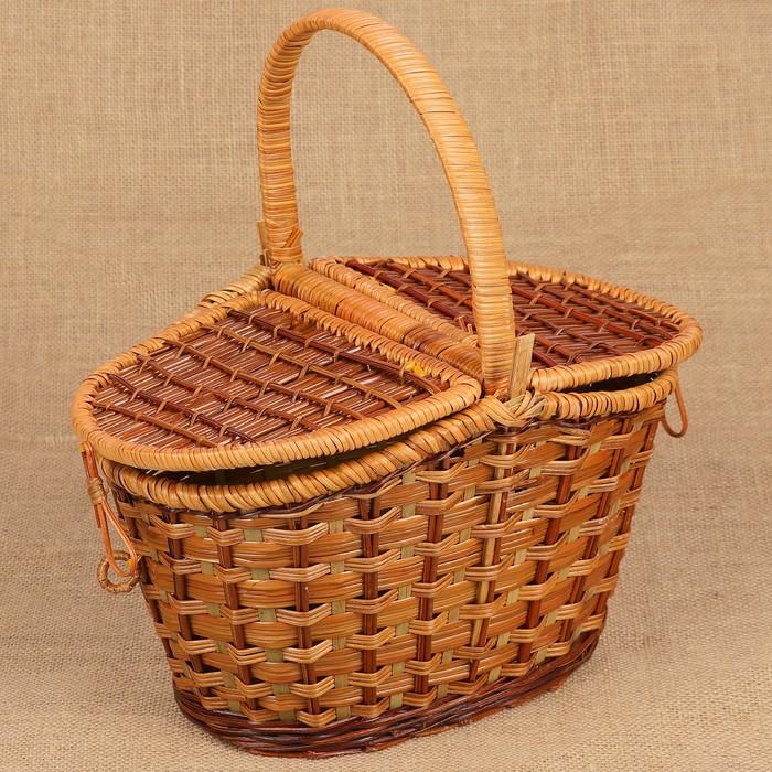 Корзина плетёная, с двухстворчатой крышкой, папоротник, размер L
