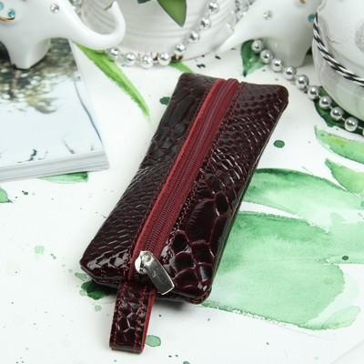 Ключница, отдел на молнии, металлическое кольцо, наплак питон, цвет бордовый