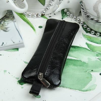 Ключница, отдел на молнии, металлическое кольцо, наплак, цвет чёрный