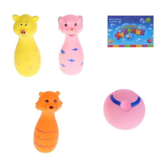 """Набор резиновых игрушек """"Весёлый боулинг"""": 3 кегли и мяч, цвета МИКС"""