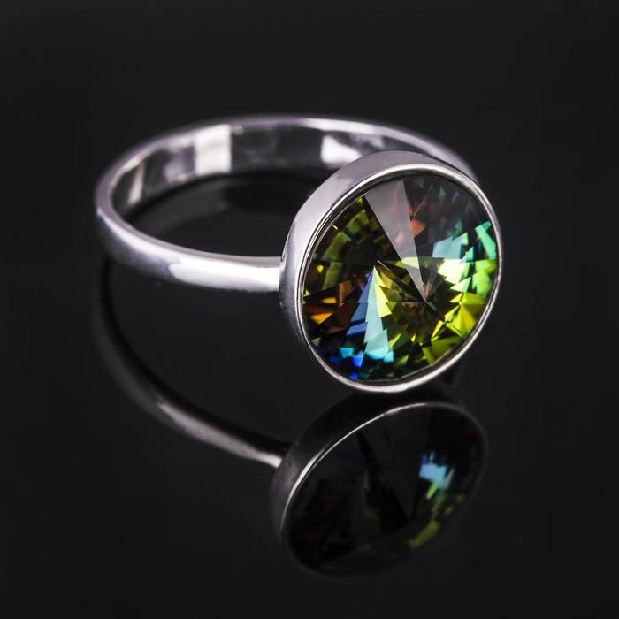 """Кольцо бижар """"Увлечение"""", размер 19,5, цвет бензиновый в серебре"""