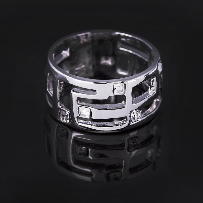"""Кольцо бижар """"Аэлита"""", размер 18,5, цвет белый в серебрении с родированием"""