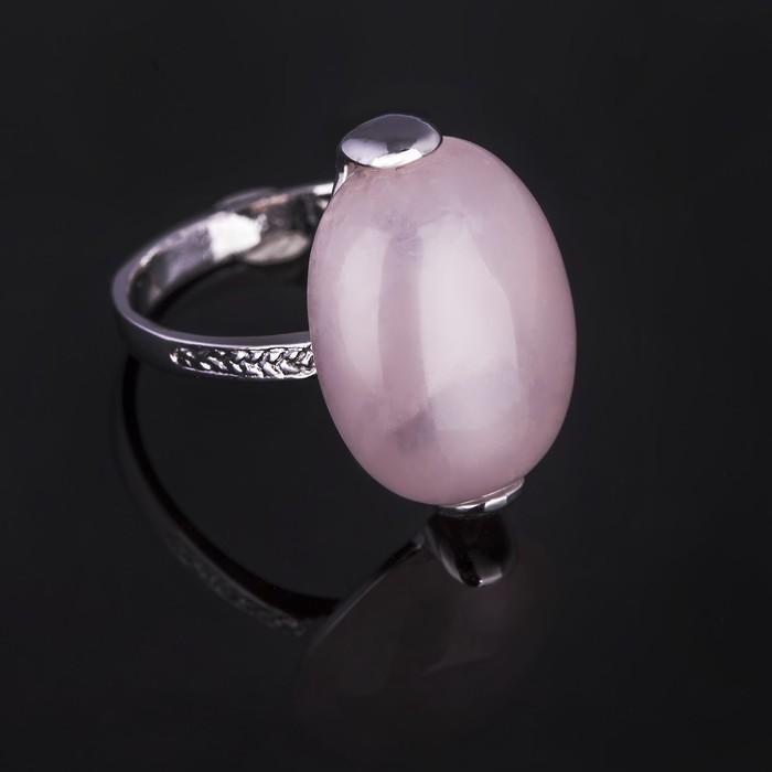 """Кольцо бижар """"Агния"""" кварц, размер 19,5, цвет розовый в серебрении с родированием"""