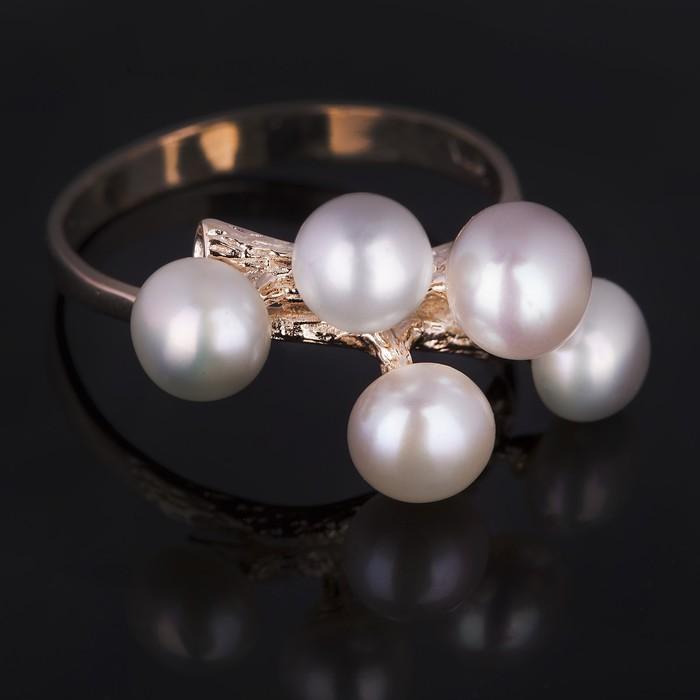 """Кольцо бижар """"Каприз"""", размер 20, жемчуг речной, цвет белый в золоте"""