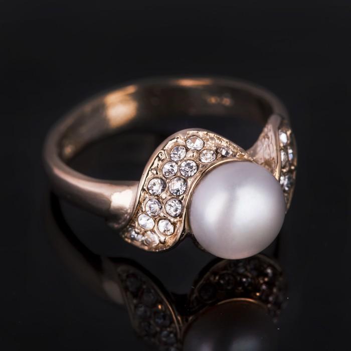 """Кольцо бижар """"Адель"""", жемчуг речной, размер 18, цвет белый в золоте"""