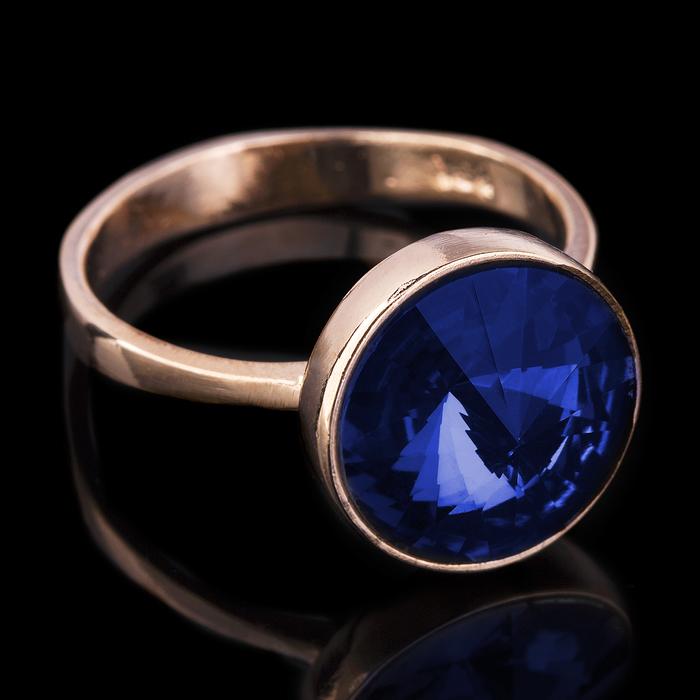 """Кольцо бижар """"Ночь"""", размер 19,5, цвет синий в золоте"""
