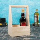 Переноска для 2 бутылок с деревянной ручкой, 21х11,5х30,5 см, натуральная