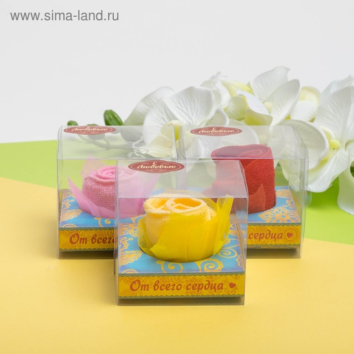 Сувенирное полотенце Роза 20х20 см МИКС