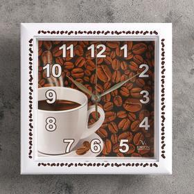 """Часы настенные квадратные """"Зерна кофе"""", кухонные"""