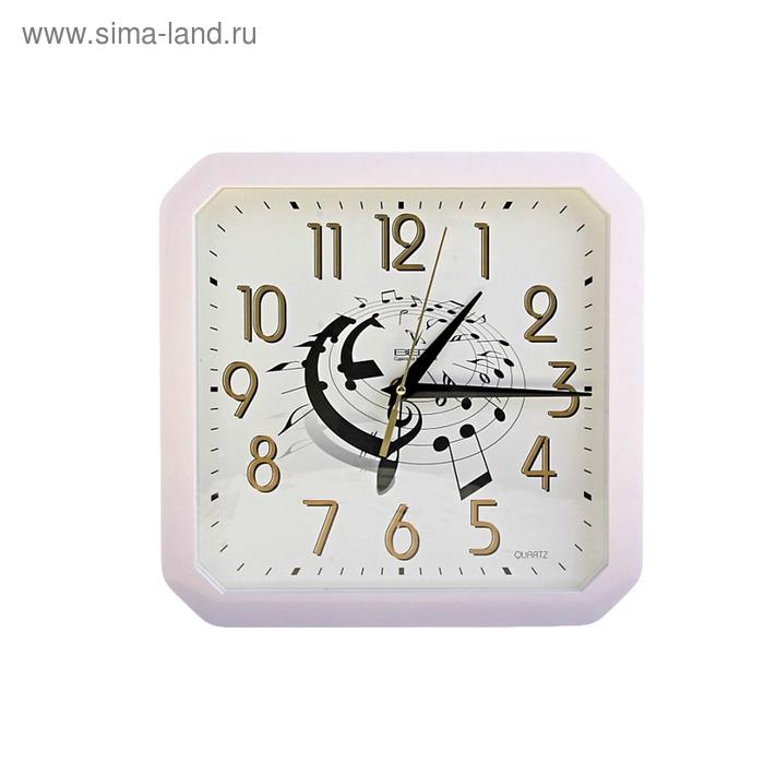 """Часы настенные квадратные """"Музыка"""", белые"""