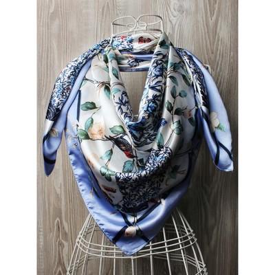 Платок женский, размер  90х90 см, цвет голубой  K0590PL704