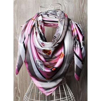Платок женский, размер  90х90 см, цвет розовый  K0590PL740
