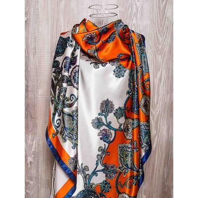 Платок женский, размер  90х90 см, цвет оранжевый  K0590PL752