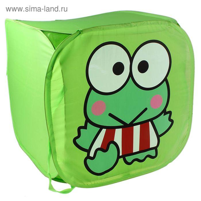 """Корзина для игрушек """"Лягушка в полосатых штанишках"""" с ручками и крышкой, цвет зеленый"""