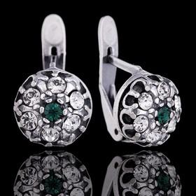 Серьги 'Малинка', цвет зелёный в чернёном серебре Ош