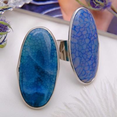"Кольцо безразмерное ""Агат"" овал, цвет синий"