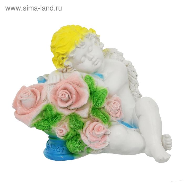 "Статуэтка ""Ангел Валентин с розами"" глаза закрыты"