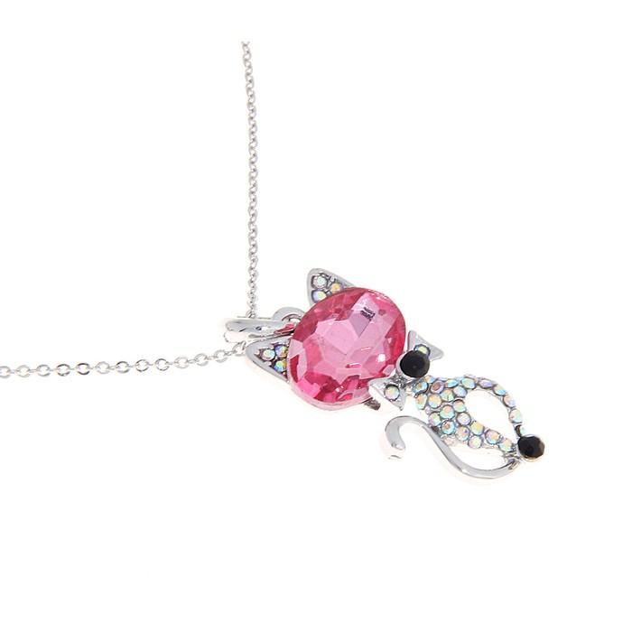 """Кулон """"Кошечка элегантная"""", цвет серебристо-розовый, 45см"""