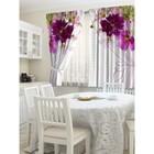"""Шторы кухонные """"Цветочная вуаль"""", размер 145х160 см-2 шт., габардин"""