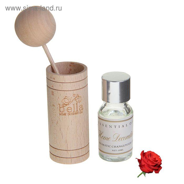 """Подарочный набор """"Европейский шик"""": аромамасло 10 мл, ступка, ротанговая палочка с шаром, аромат роза"""