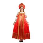 """Русский народный костюм """"Любавушка"""", платье, кокошник, атлас, р-р 50, рост 170 см"""